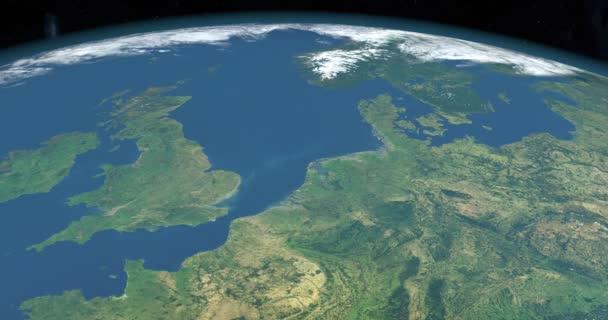 Nordsee auf dem Planeten Erde, Luftaufnahme aus dem Weltraum