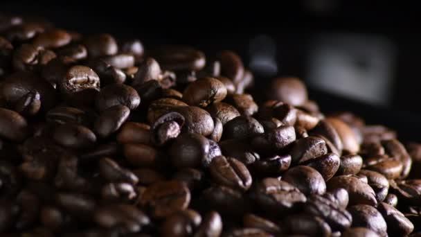 Hnědá kávová zrna kroužící