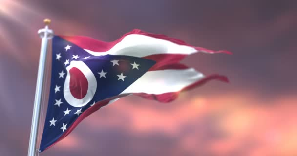 Flag of Ohio state at sunset, region of the United States of America - loop