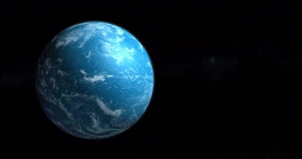 Mraky na modré planetě pohybující se z vesmíru