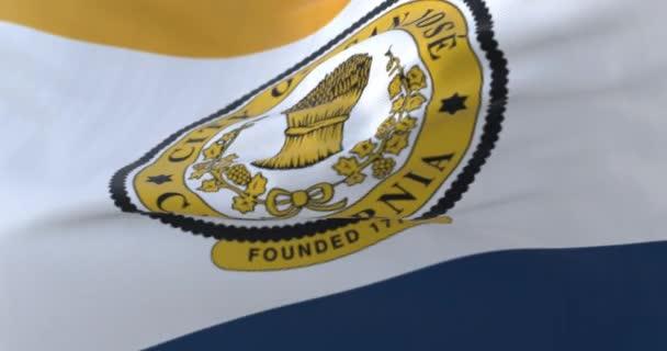 San Jose city flag, city of USA or United States of America - loop