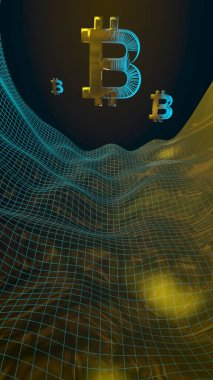 Digital currency, golden symbol Bitcoin on abstract dark background. Growth of the crypto currency market. Business, finance and technology concept. 3D illustration