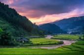 Fotografie Mu cang chai at twilight, YenBai, Vietnam, Northwest Vietnam.