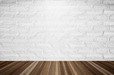White brick wall illuminated by the ceiling lamp with copy space. stock vector