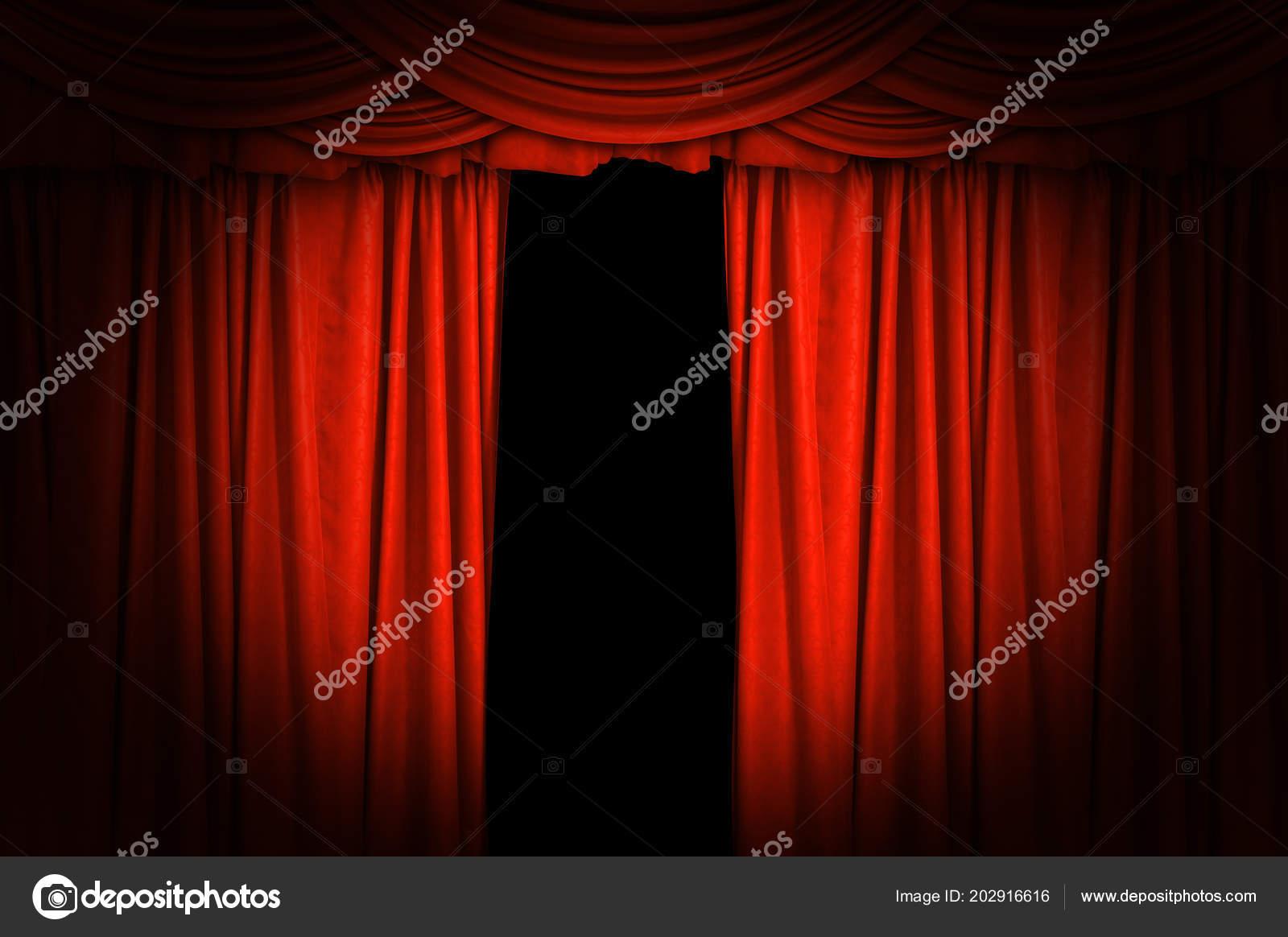 rode fluwelen gordijnen open licht schijnwerpers het toneel voor achtergrond stockfoto