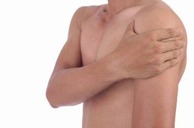 Man having shoulder joint pain isolated on white with clipping path.
