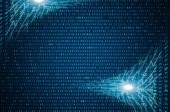 Fotografie Abstraktní modré technologické zázemí. Binární počítačový kód. Programování / kódování / Hacker koncept. Obrázek pozadí
