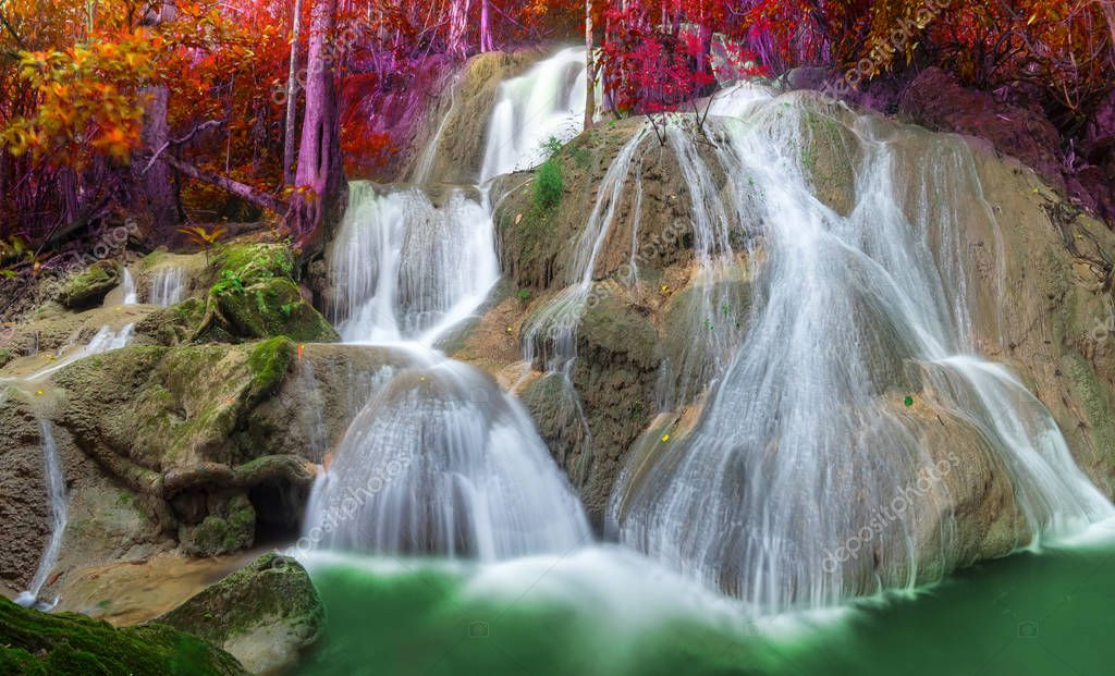 Pha Tad Waterfall is one of beautiful tourist attractions in Kanchanaburi, Thailand.