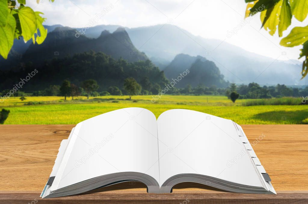 Open book on wooden table with blurred natural background.