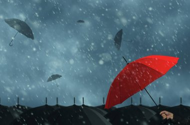 Data protection, which protects the red umbrella in a storm.