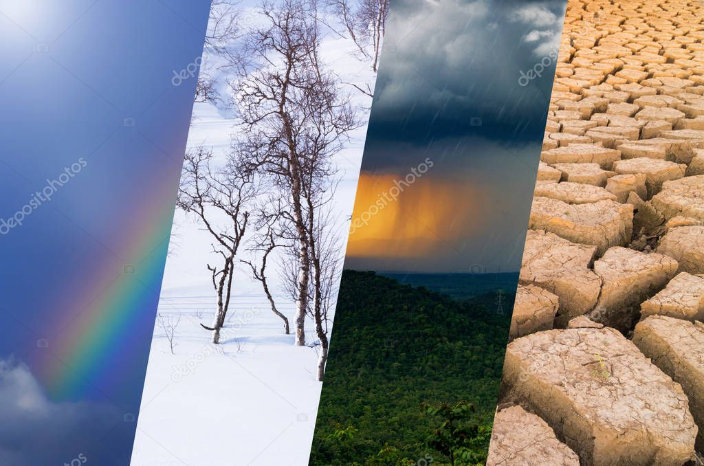 Weather Background - Various weather, bright sun and snow, dark sky, storm and drought.