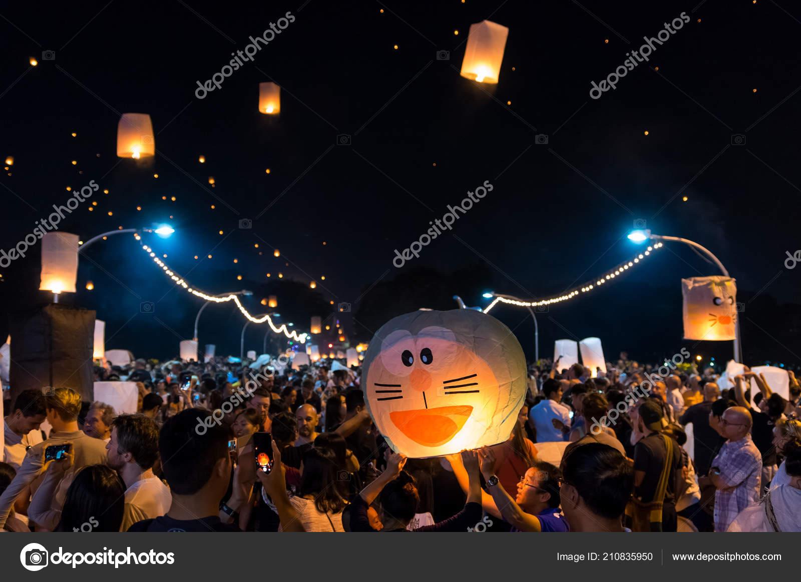 chiang mai thailand november floating lanterns festival many