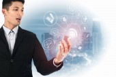Photo Double exposure of Businessman holding smartphone, Concept communication network digital technology via internet wireless.