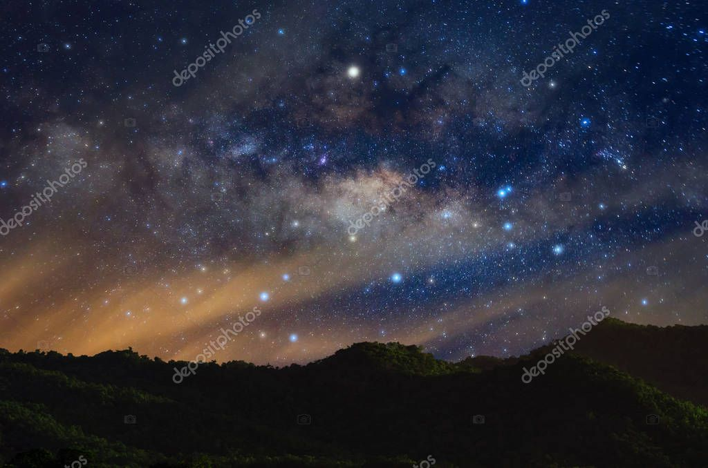 Milky way galaxy with stars and space dust in the universe, long speed exposure.