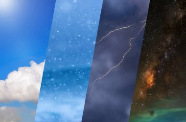 Weather forecast background - variety weather conditions, bright sun and snowfall, dark stormy sky with lightnings