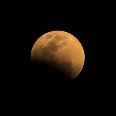 Panoramic image of the Total Lunar Eclipse of a (Super-moon) Blood moon or Blue moon,Lampang Thailand.