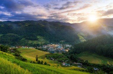 Town at sunrise of Mu Cang Chai, YenBai, Vietnam, at Northwest Vietnam.