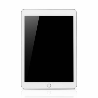 Digital tablet computer with Blank black screen, The frame is Bourne Silver in color, with clipping path isolated on white background.