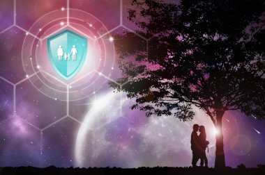 Life insurance, Shield protection on virtual screen against Couple silhouette and tree on backdrop, Concept of insurance, Online insurance digital technology.