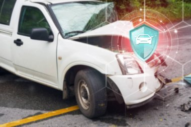 Car Insurance, Shield protection vehicle on virtual screen against Car crash accident  on backdrop, Concept of insurance, Online insurance digital technology.
