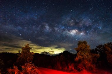 Milky way galaxy with stars and space dust in the universe, long speed exposure. Baan Na Sak, Mae Moh Lampang Thailand.