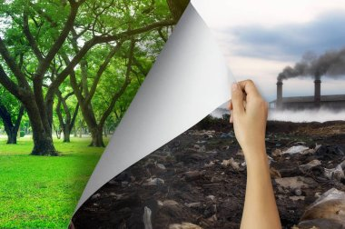 Change concept, Woman hand turning pollution page to Tree garden environmentally friendly, changing reality, hope inspiration,environmental protection, change weather, environmental campaign.