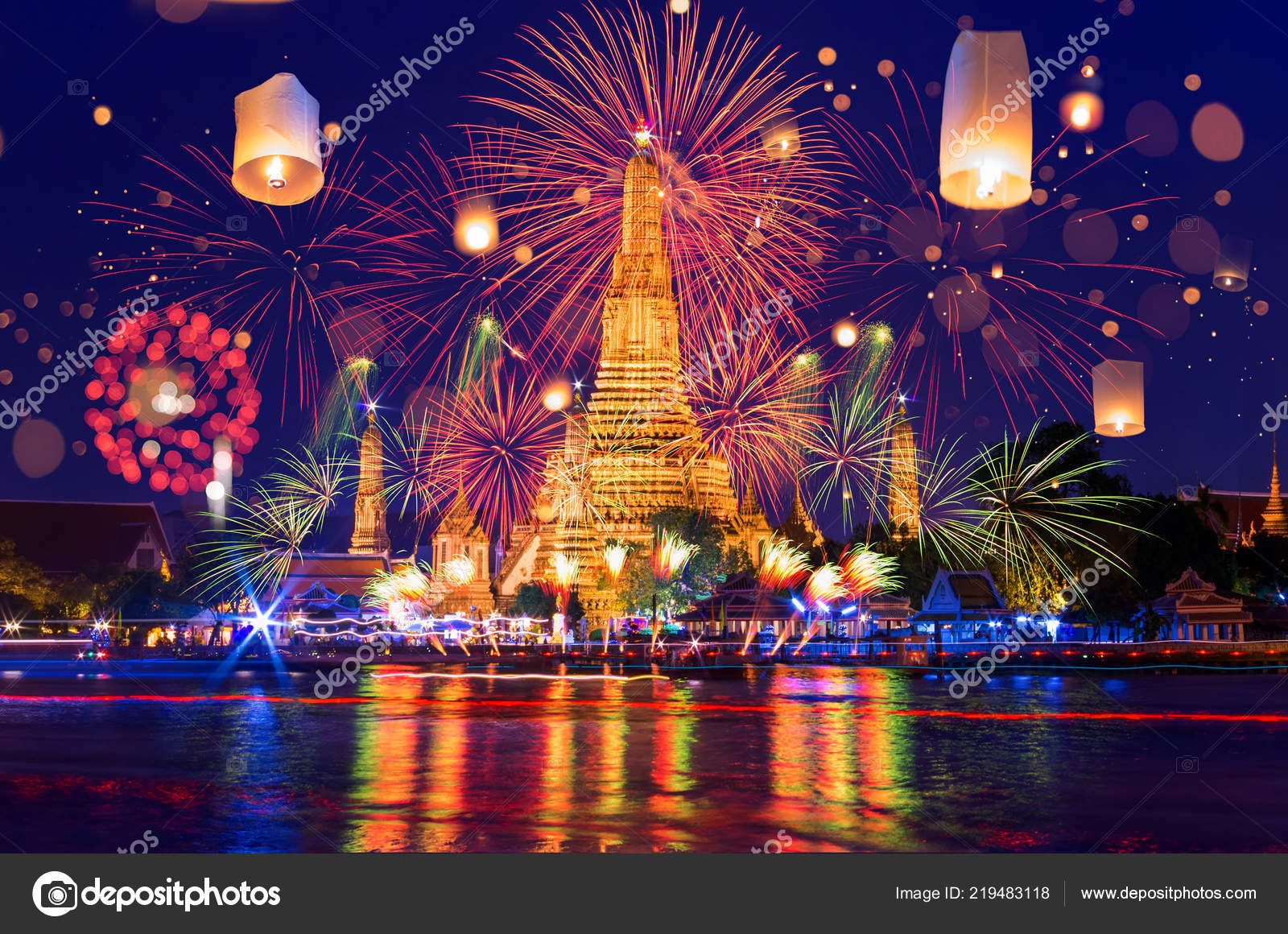 bangkok happy new year countdown fireworks and lanterns at wat arun temple bangkok thailand photo by nirutdps