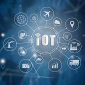 Fotografie Internet věcí (Iot) slovo a objekty, ikony připojení spolu s abstraktní technolgií, síťové koncept Internet, připojení globální bezdrátová zařízení mezi sebou