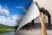 Fotografie Änderung Konzept, Frau hand Verschmutzung Umblättern enthüllt Naturlandschaft, sich verändernden Realität, Hoffnung Inspiration, Umweltschutz, Wetter, Umwelt-Kampagne ändern