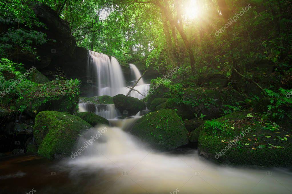 Man Daeng waterfall at autumn. Beautiful nature.