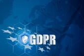 Védelem pajzs és fölött belsejében, Európa Térkép, jelképezi az Eu általános adatvédelmi rendeletben vagy a Gdpr. célja, hogy harmonizálja adatvédelmi törvényeknek, Európa-szerte az Eu-zászló ikon zár.