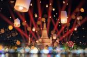 Fotografie Bangkok happy new year countdown fireworks and lanterns at Wat Arun Temple, Bangkok Thailand.