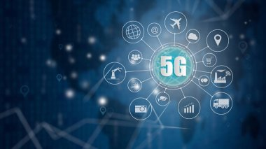 5G network wireless systems and internet of things, Smart city and communication network and objects icon connecting together,  Connect global wireless devices.