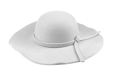 Elegant woman white hat or Large white summer straw hat isolated on white background with clipping path. stock vector