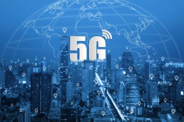 5G network wireless systems and Smart city communication network, connect global wireless devices.
