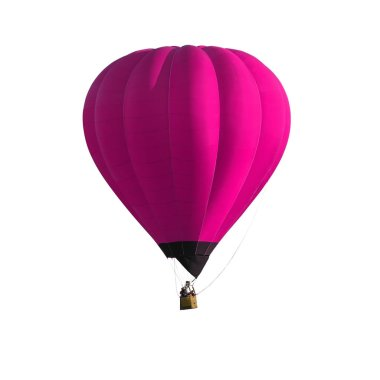 Pink Hot air balloon isolated on white background with clipping path.