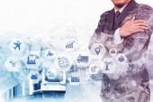 Doppelbelichtung des Geschäftsmannes auf industriellem Hintergrund mit Internet der Dinge (iot) -Symbolen und Internet-Netzwerkkonzept, Verbindung globaler drahtloser Geräte untereinander.