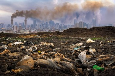 Toxic waste from human hands Industries that create pollution and cities that are affected by pollution.