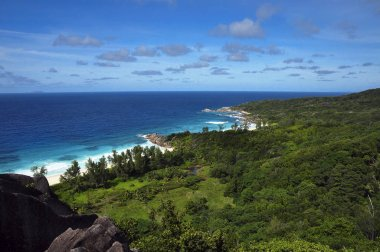 Top view on the coast of Grand Anse, La Digue Island, Seychelles