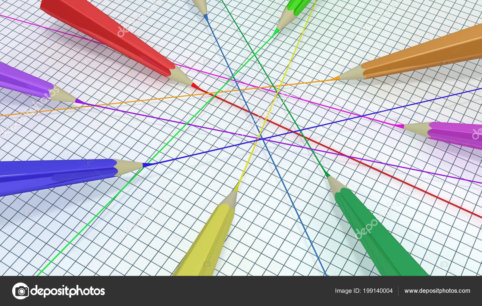 Color Arte Lápices Dibujo Líneas Rectas Ilustración Fondo Horizontal
