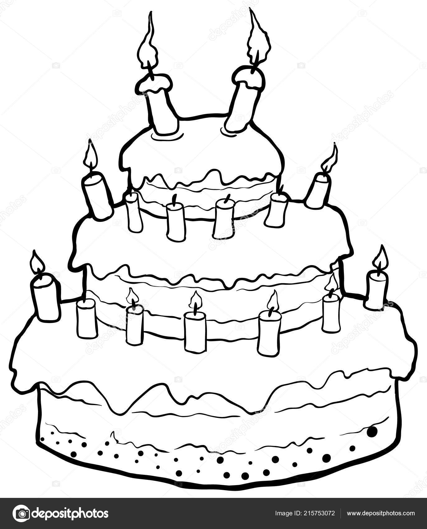 Fine Birthday Cake Outline Drawing Birthday Cake Drawing Vector Birthday Cards Printable Trancafe Filternl