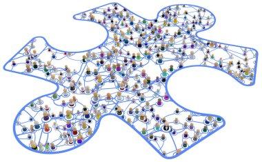 Cartoon Crowd Layered System, Framed Jigsaw