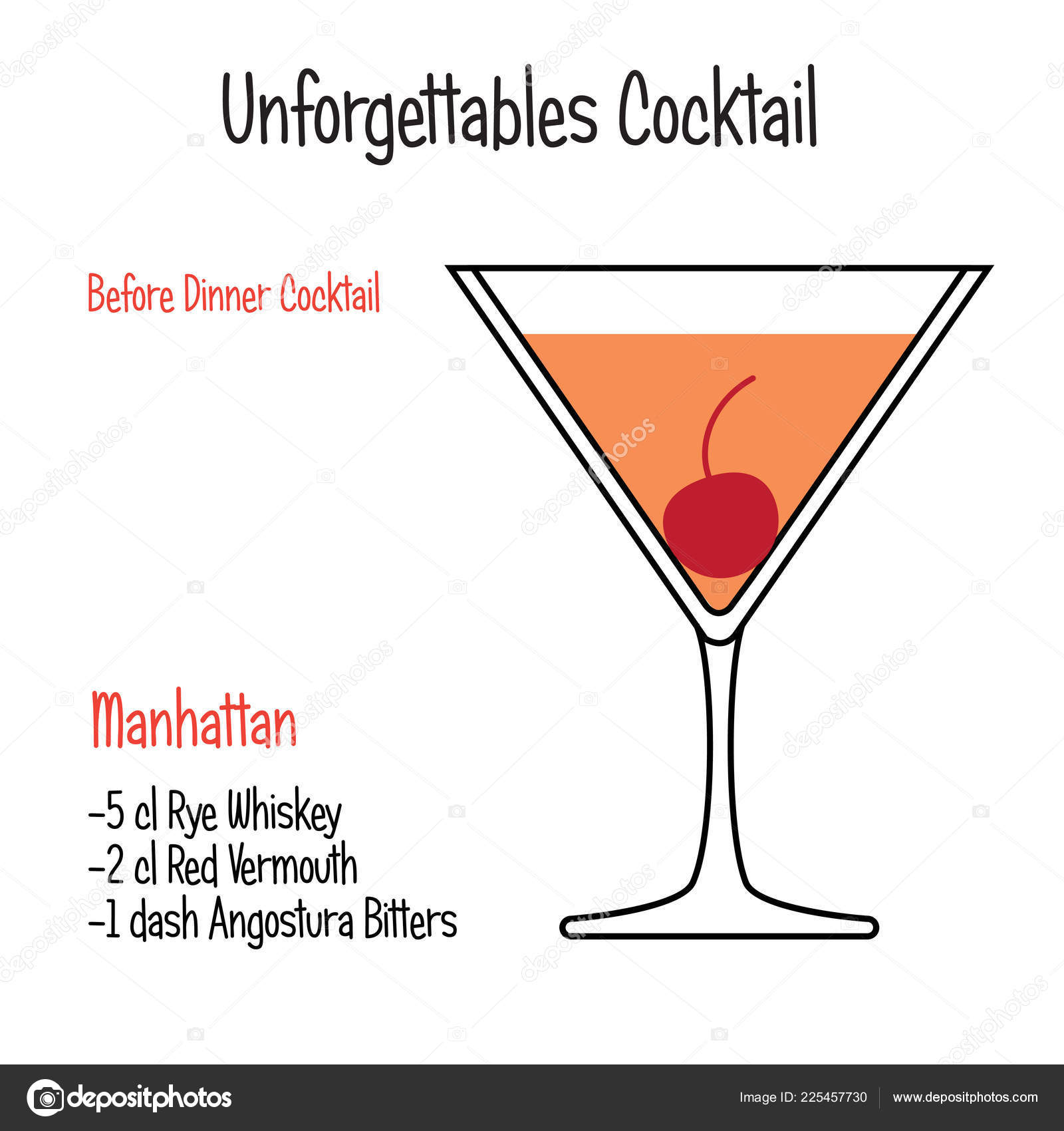 Manhattan Alcoholic Cocktail Vector Illustration Recipe Isolated Vector Image By C Andreeva Marina Vector Stock 225457730