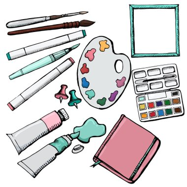 Highly detailed artists supplies icons set1