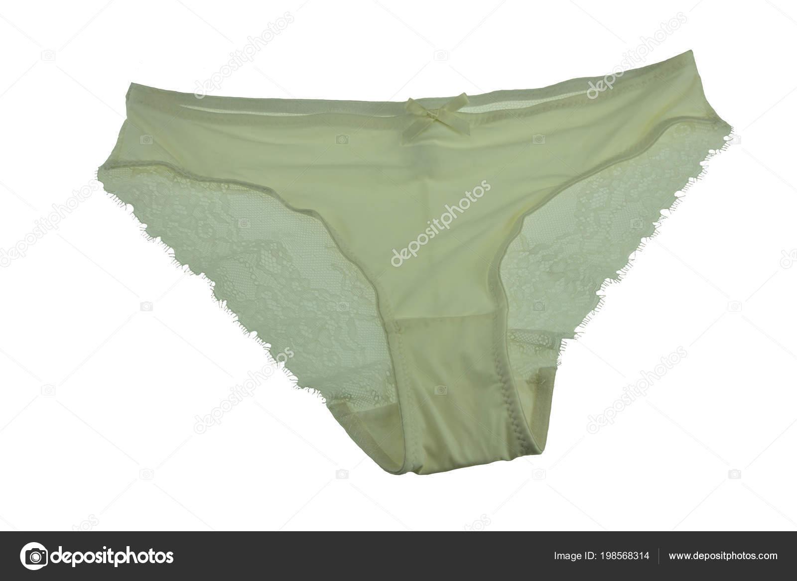 2457bf5c6 Calcinha Renda Seda Verde Isolada Fundo Branco Cueca Verde — Fotografia de  Stock