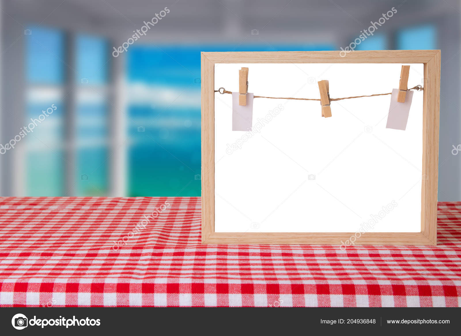 food recipe template empty wooden frame red white checkered