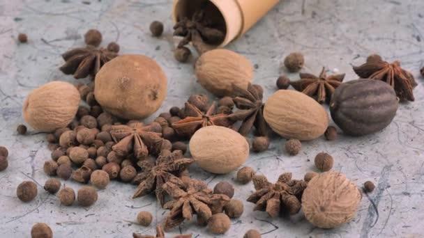 Rotating Various Arabian Spices . Assortment of Seasonings, condiments.