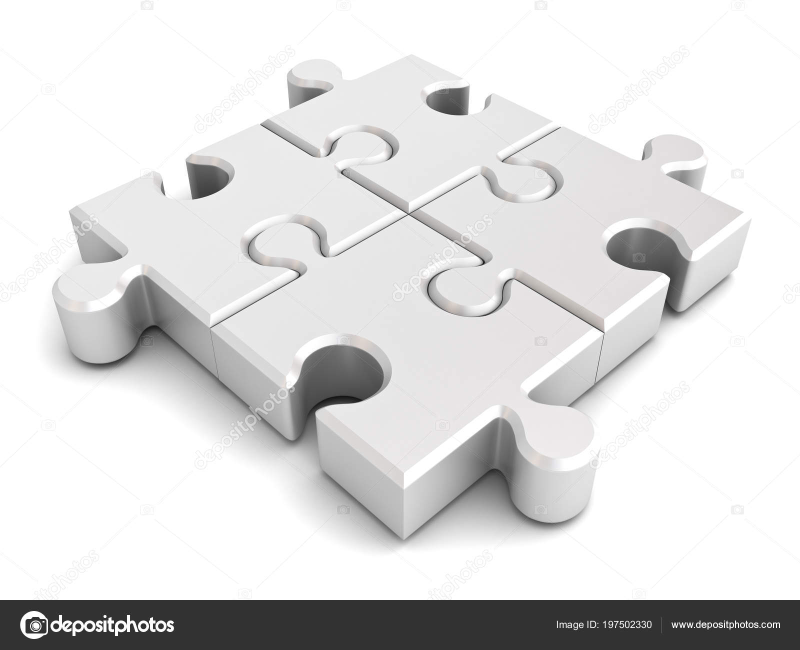 Four White Jigsaw Puzzle Pieces Isolated White Background Shadow Rendering Stock Photo Image By 3dconceptsman 197502330