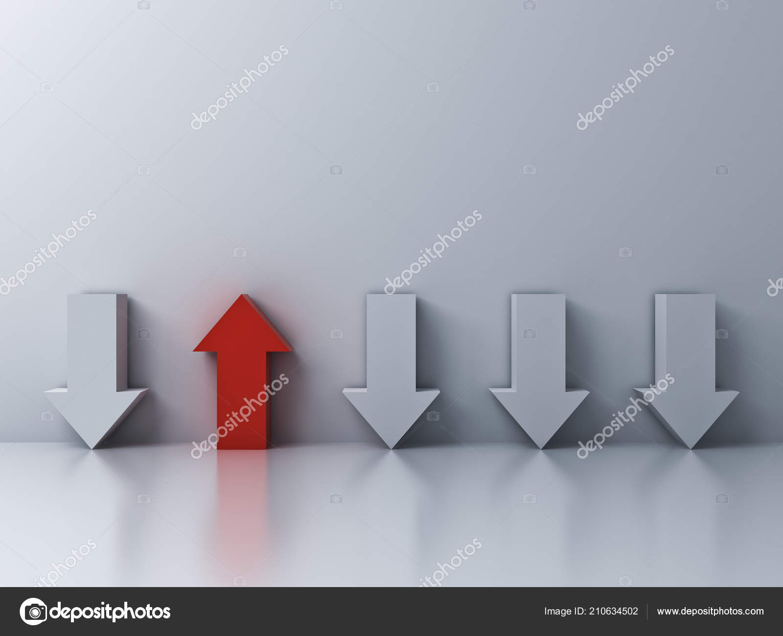 Stand Out Crowd Different Concept One Red Arrow Other Arrows