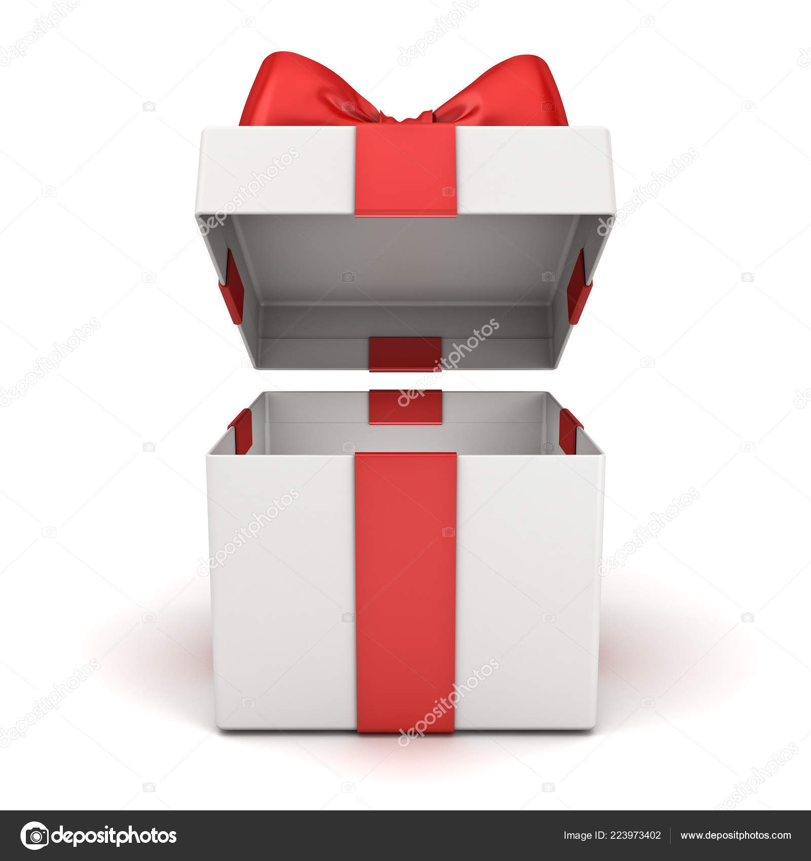 Open Gift Box Blank Present Box Red Ribbon Bow Isolated Stock